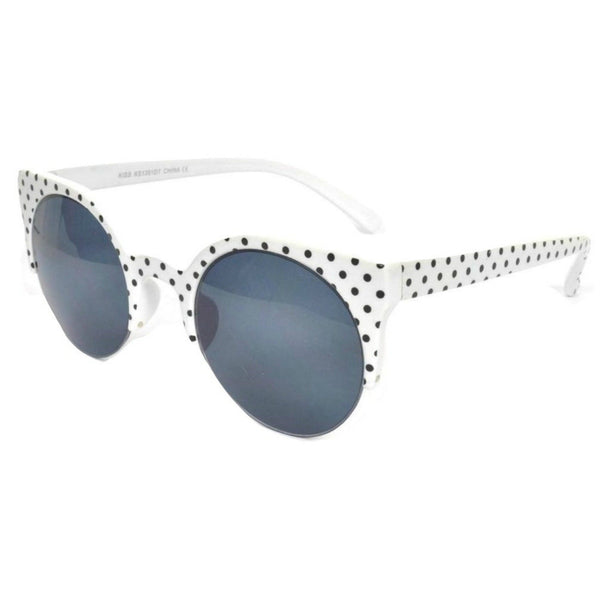 SUZIE Round Lens Polka Dot Cat's Eye Sunglasses - Minimum Mouse