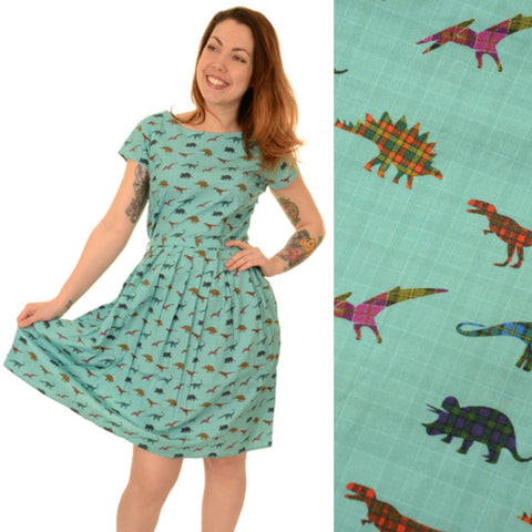 Tartan Dinosaur Dress by Run and Fly - Minimum Mouse