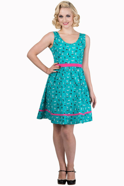 Teal Cat Print Dress by Banned Apparel - Minimum Mouse
