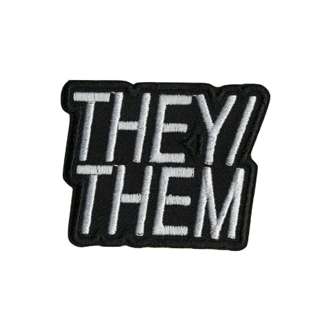 They/Them Pronoun Iron On Patch - Minimum Mouse