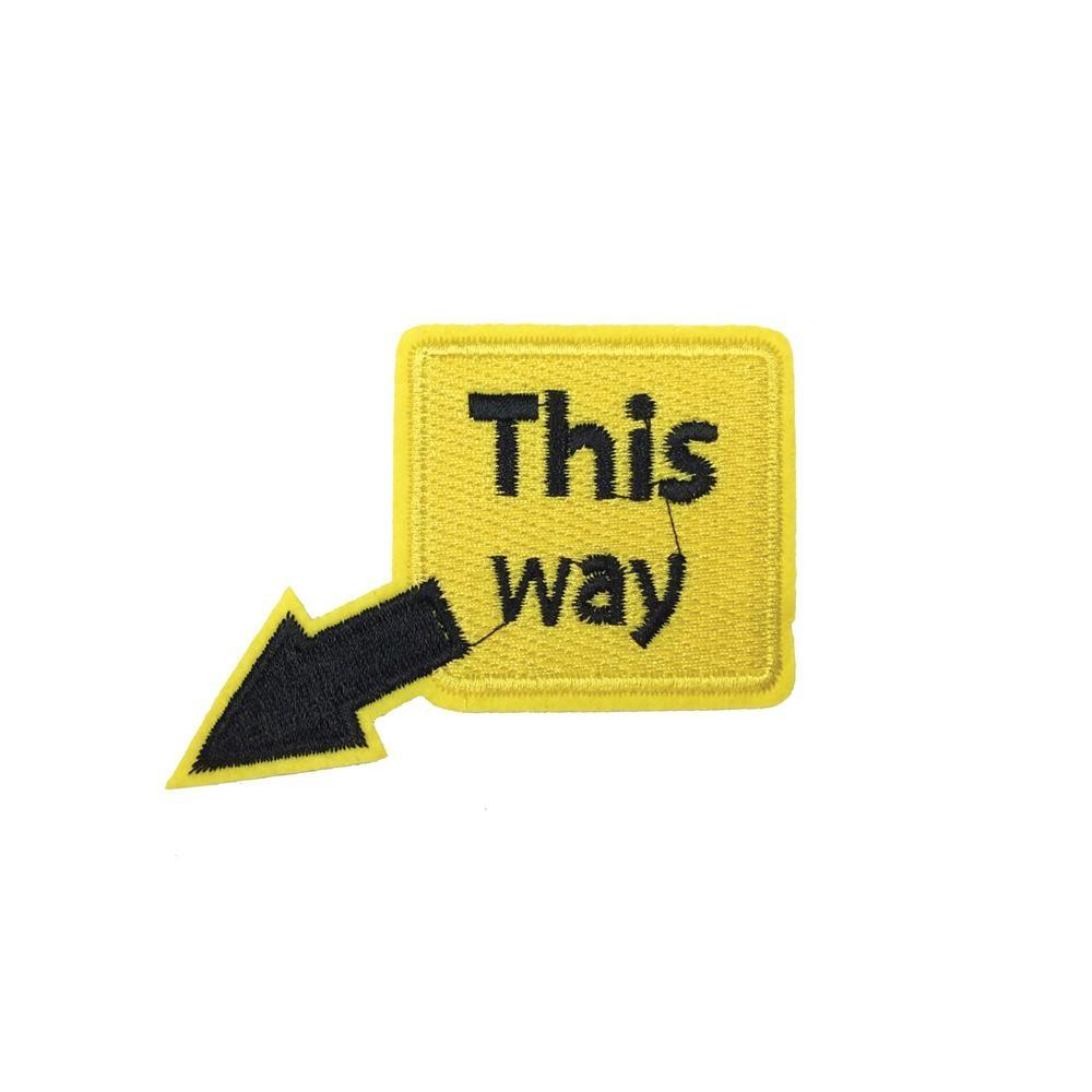This Way Road Sign Iron On Patch - Minimum Mouse