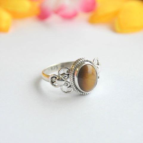 Tiger's Eye Sterling Silver Ring - Minimum Mouse