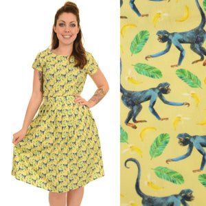 Tropical Monkey Print Dress by Run and Fly - Minimum Mouse