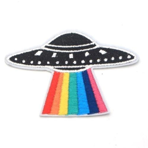 UFO Rainbow Iron On Space Patch - Minimum Mouse