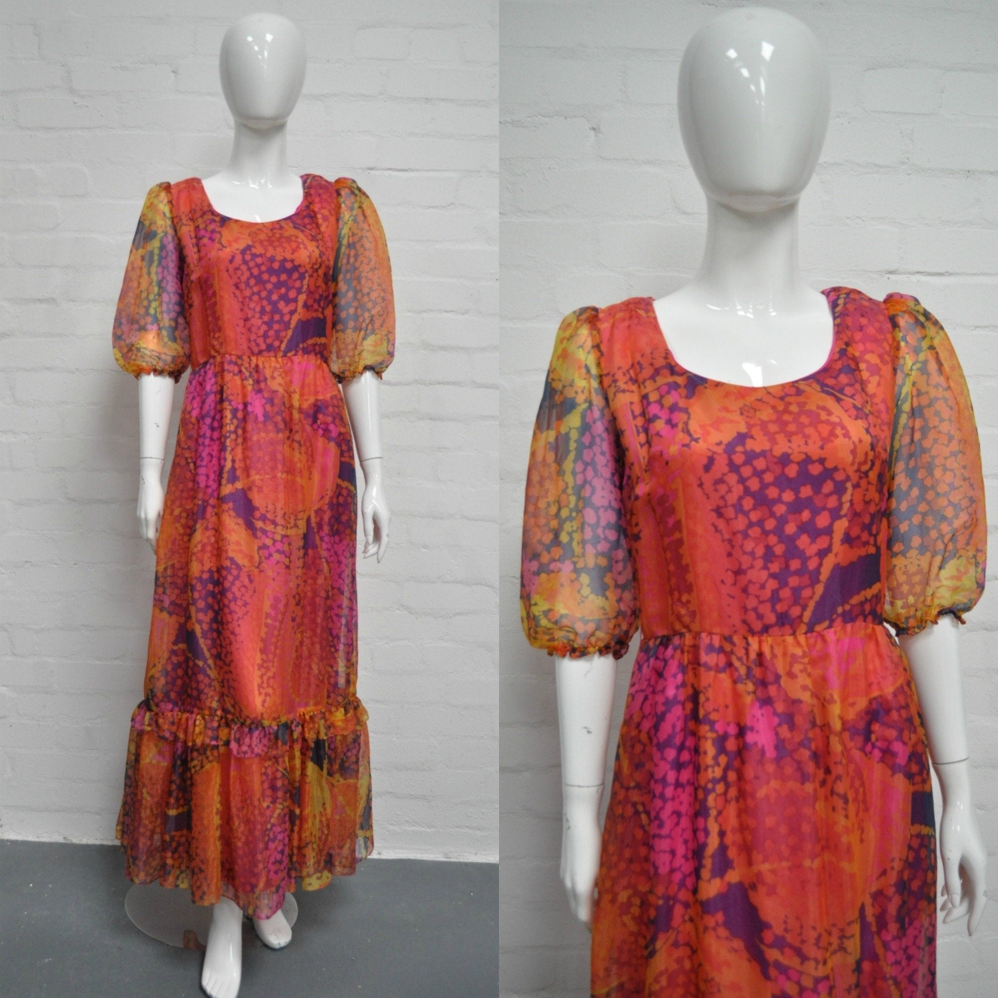 Vintage 70's Red Hot Flame Maxi Dress - Minimum Mouse