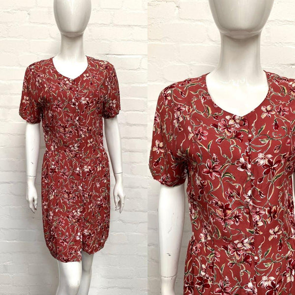 Vintage 90's Floral Button Front Dress - Minimum Mouse