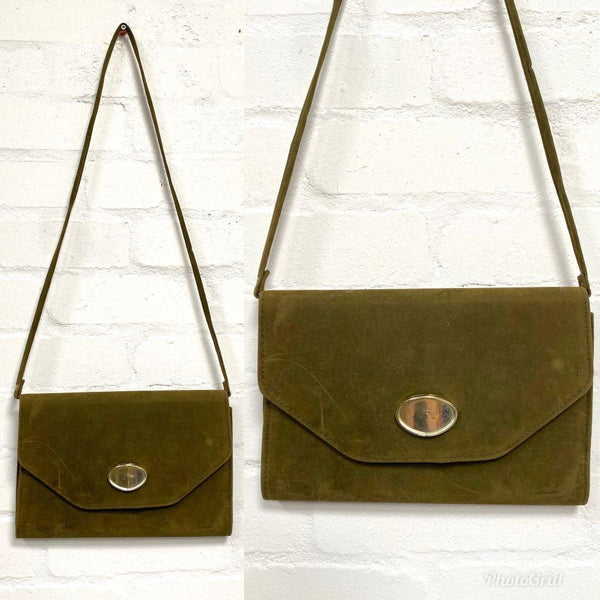 Vintage Olive Green Flock Shoulder Bag - Minimum Mouse