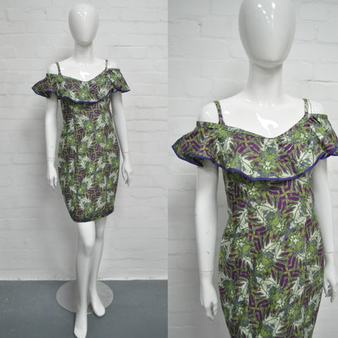 Vintage Tropical Print Wiggle Dress - Minimum Mouse