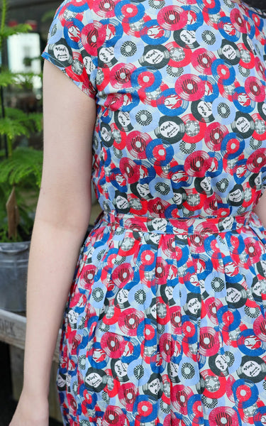 Vinyl Records Dress in Slate by Run and Fly - Minimum Mouse