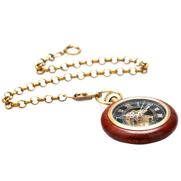 Wooden Case Mechanical Hand Wind Pocket Watch - Minimum Mouse