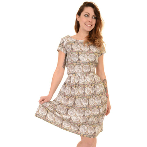 World Map Print Dress by Run and Fly - Minimum Mouse