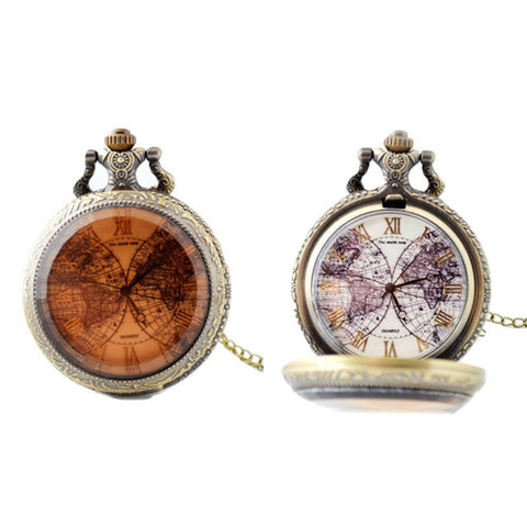 World Map Quartz Pocket Watch - Minimum Mouse