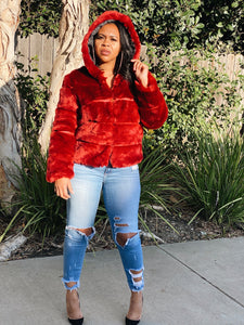 Claudia Crimson Faux Fur Jacket - Day 3 Boutique