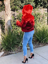Load image into Gallery viewer, Claudia Crimson Faux Fur Jacket - Day 3 Boutique