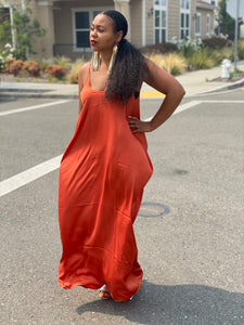 Abra Rust Satin Maxi Dress