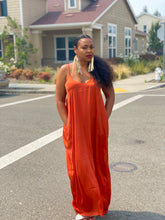 Load image into Gallery viewer, Abra Rust Satin Maxi Dress