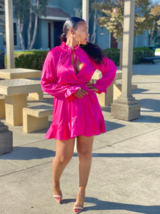 Julie Magenta Satin Dress