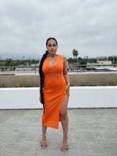 Load image into Gallery viewer, Eden Orange Knit Midi Dress