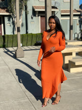Load image into Gallery viewer, Helah Orange Ribbed Sweater Dress