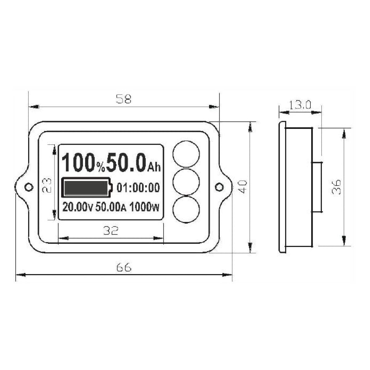 Amptron 100A Coulometer Battery monitor with shunt