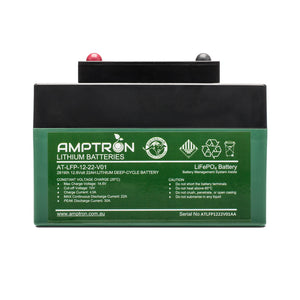 Amptron Lithium Golf Cart 12V 22Ah LiFePO4 Battery and Charger Combo kit