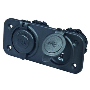 DC & Double USB Twin Socket Panel Mount