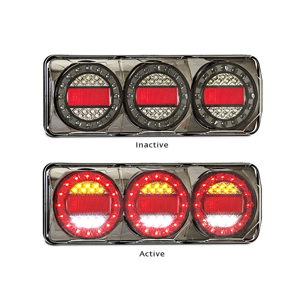 LED-MAXILAMPC3XRW | LED Autolamps - LED Black Chrome Reverse with Reflex Reflector 12-24V | Stop/Tail/Indicator Lights | Perth Pro Auto Electric Parts