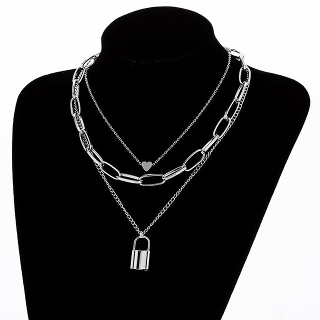 Multilayers Punk Chains Cross Necklace