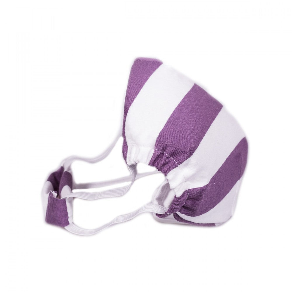 Textile Mask M size with purple-white stripes