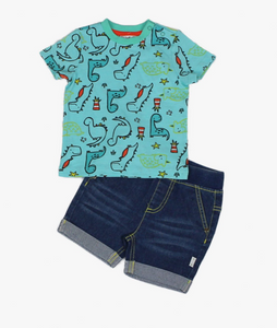 Setje denim short en Dino shirtje