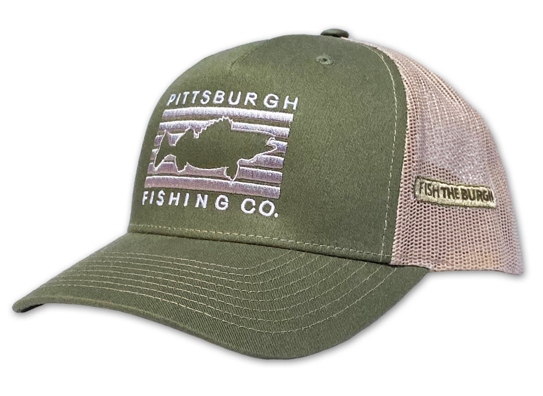 Pittsburgh - Fish Rectangle Hat - Olive / Tan