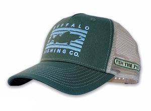 Buffalo - Fish Rectangle Hat - Green / Tan