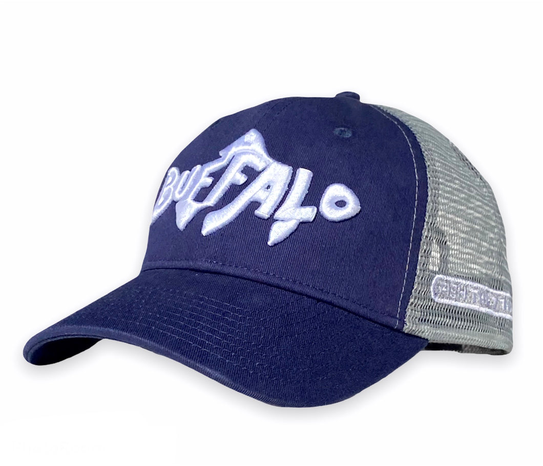 Buffalo Fish - Unstructured trucker hat - Navy / Grey
