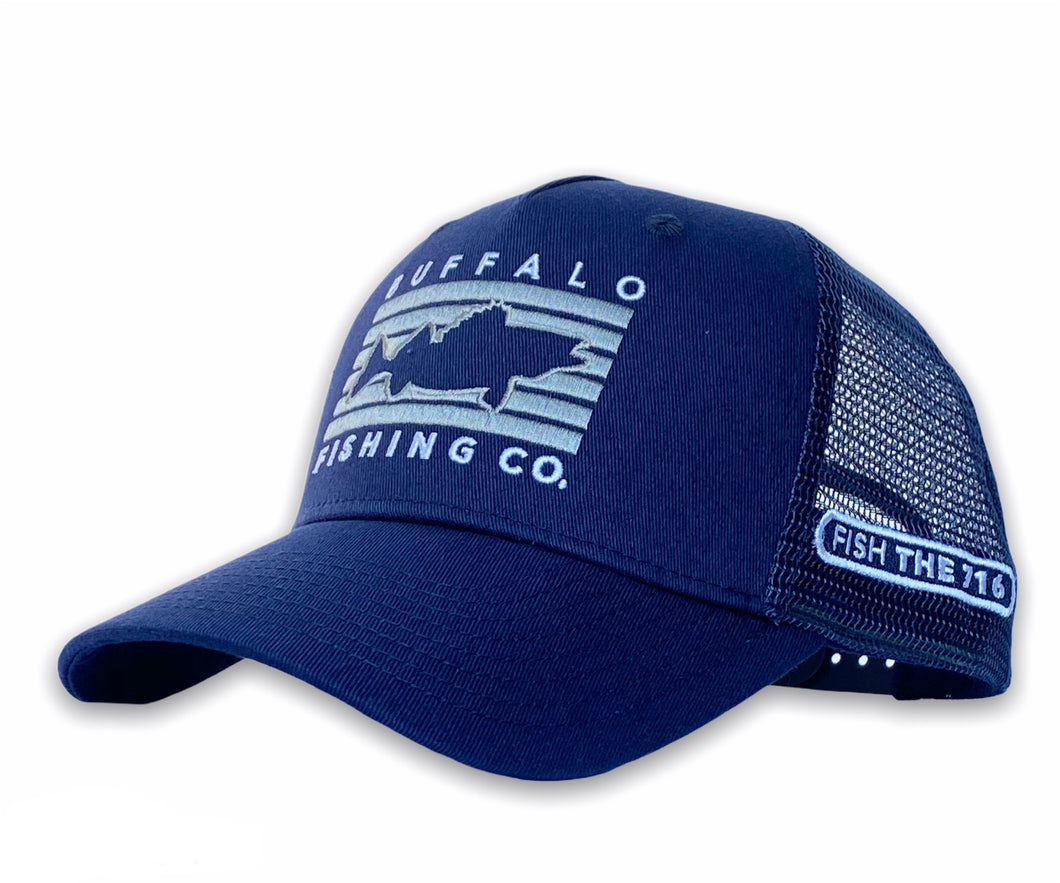 Buffalo - Fish Rectangle Hat - Navy
