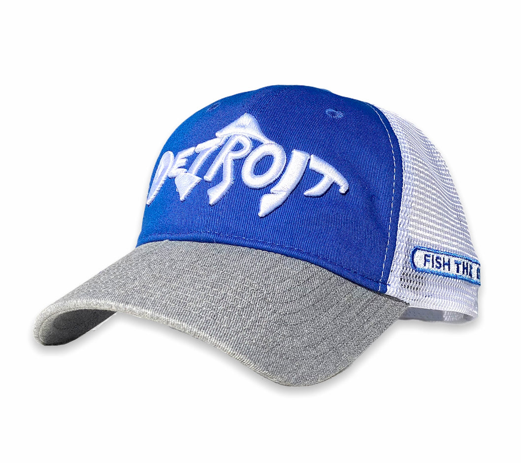 Detroit Fish - Unstructured Trucker Hat - Silver / Blue / White