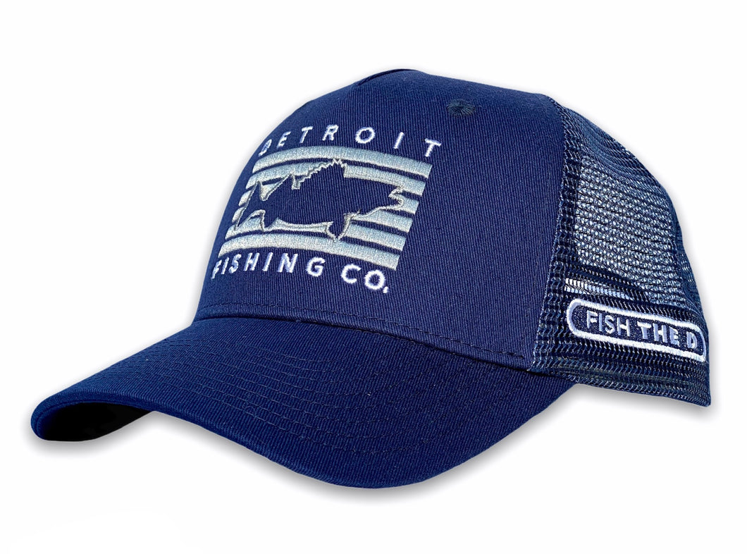 Detroit - Fish Rectangle Hat - Navy
