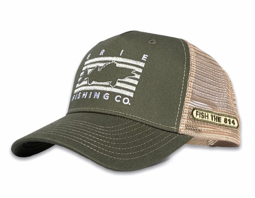 Erie - Fish Rectangle Hat - Olive / Tan