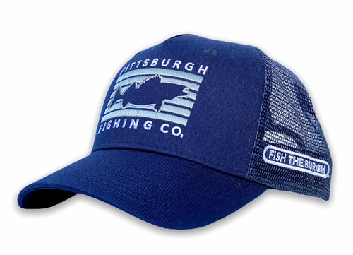 Pittsburgh - Fish Rectangle Hat - Navy