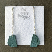 Load image into Gallery viewer, Blue Leaf Concrete Chain Earrings