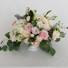 Load image into Gallery viewer, Red Fox Floral. Large Blush Centerpiece. A luxurious arrangement with picked from the garden texture made with blush and white garden roses, spray roses, ranunculus, lisianthus, blush accents with eucalyptus and green foliage.