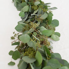 Load image into Gallery viewer, Red Fox Floral Eucalyptus Garland, vertical view. A mix of eucalyptuses to include silver dollar and seeded eucalyptus.