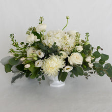 Load image into Gallery viewer, Red Fox Floral Large Romantic Garden Centerpiece. A luxurious arrangement with picked from the garden texture made with garden roses, spray roses, football mums, ranunculus, lisianthus, white accents and eucalyptus and green foliage.