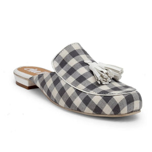 "Loafer style slider in our classic ""Carly"" shape. Round toe upper in grey and white checks with a white tassle detailing. Featuring a funky heel. Slip-on style made with a state-of-the-art sole."