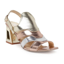 Load image into Gallery viewer, Say hello to another new addition to our 'Tri-Mettalic' Collection. Strappy upper in 3 metal tones: Rose Gold, Silver and Champagne Gold. Our signature trapeze shape three-inch block heel in a gold metallic tone coupled with our state-of-the-art sole. Shoe Care: Wipe with a clean, dry cloth to remove dust.