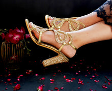 Load image into Gallery viewer, Bibi Glow Gold Block Heels