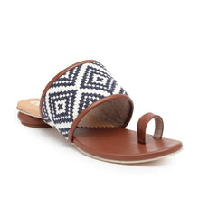 Load image into Gallery viewer, Presenting our newest sandals for when you want them Indian vibes! Blue woven fabric upper with tan faux leather piping detailing with coupled with a classic disk heel. Slip-on style featuring a state-of-the-art sole. Shoe Care: Wipe with a clean, dry cloth to remove dust.