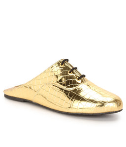 Croco - Metallic Gold - Oxford Lace Ups