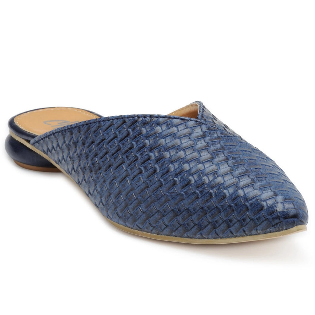 Pointy Toe Sliders. With weaved upper in blue faux leather featuring a Disk Heel. Slip-on style with a state-of-the-art sole.
