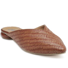 Load image into Gallery viewer, Pointy Toe Sliders. With weaved upper in tan faux leather featuring a Disk Heel. Slip-on style with a state-of-the-art sole.