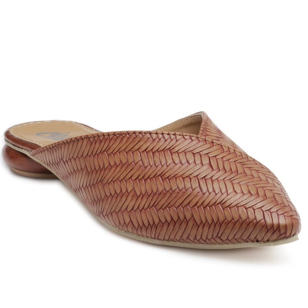 Pointy Toe Sliders. With weaved upper in tan faux leather featuring a Disk Heel. Slip-on style with a state-of-the-art sole.